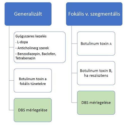 Disztónia kezelése - döntési algoritmus - gyógyszerek, botulinum toxin, mély agyi stimulációó - DBS műtét