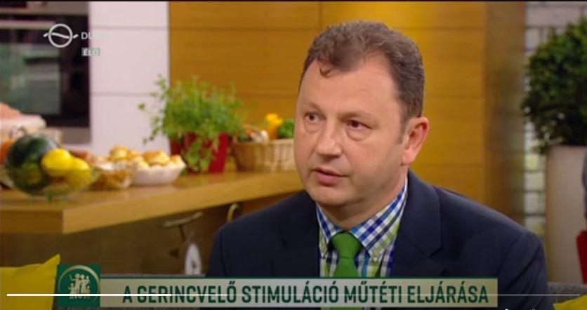 dr. Valálik István a Duna TV-ben a gerincvelő stimulációról beszél